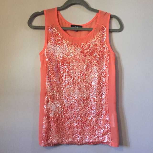 Orange Sequin Top