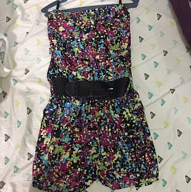 Peace And Love Romper With Belt