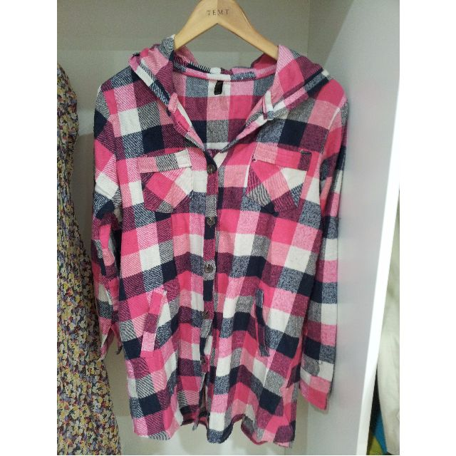 Pink Black and White Checkered Button up Shirt Size S