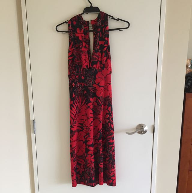 Red & Black Halter Neck Dress