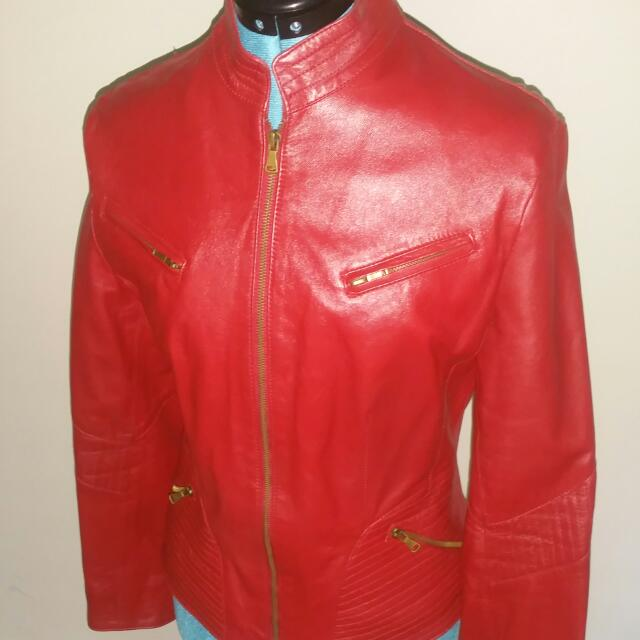 Red Faux Leather Fitted jacket