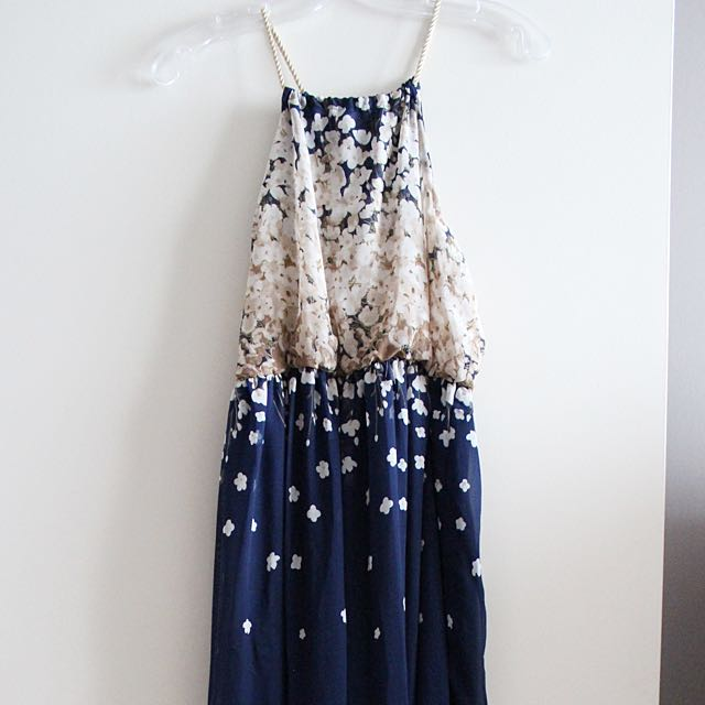 Semi/Formal Navy Maxi Dress with Floral Print [M]
