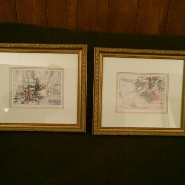 Set Of 2 Gold Frame Floral Prints