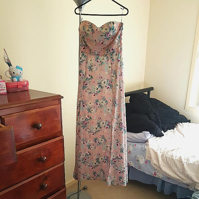 Size 8 Pink Floral Maxi Dress