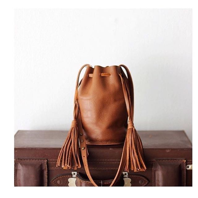Straw The Label Full Leather Small Bucket Bag