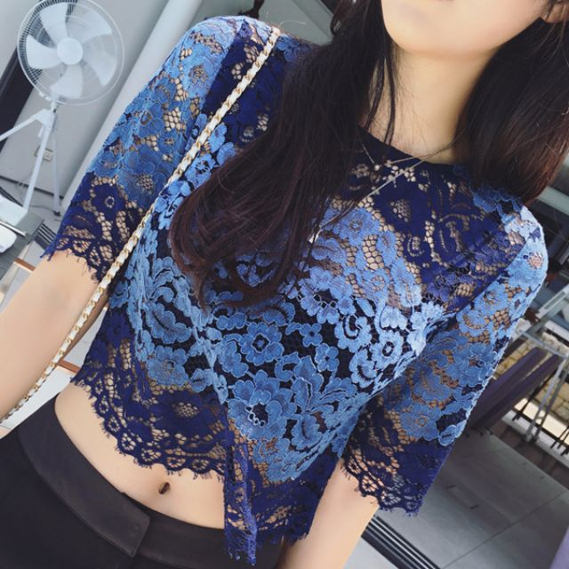 Summer Crochet Lace See Through Top