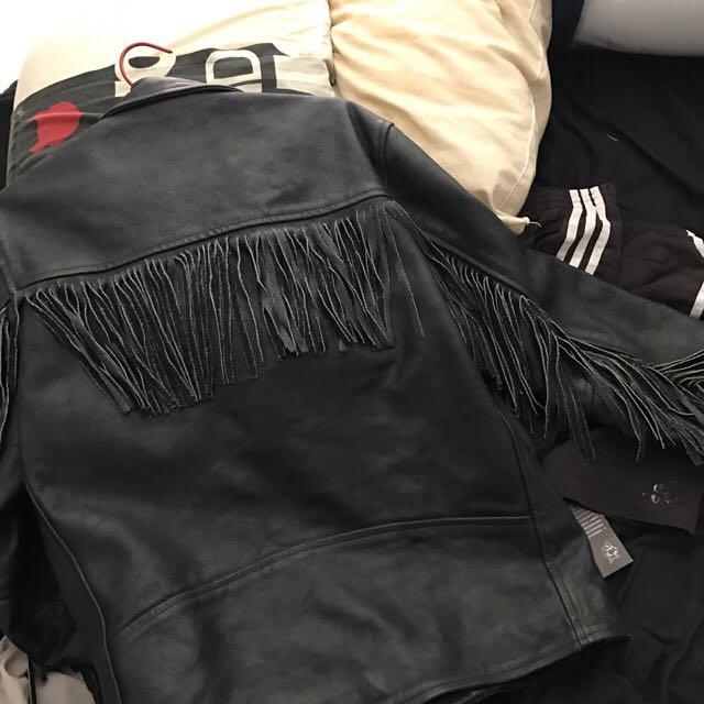 Tassel Leather Jacket Size M