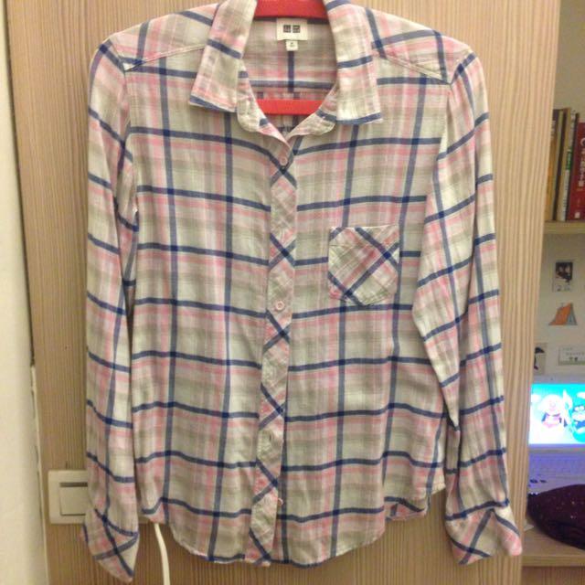 uniqlo粉藍格子襯衫