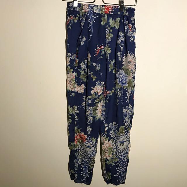 Zara寶藍花褲