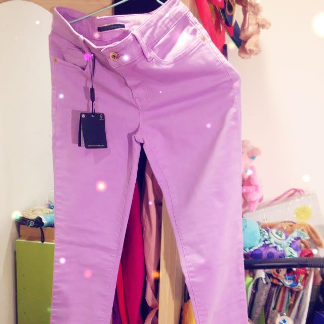 Zara MD Dutti 副牌 紫色窄管牛仔褲 34