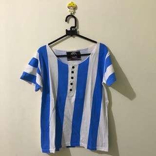 blue-white strip t-shirt