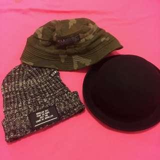 黑灰毛帽 迷彩漁夫帽 黑圓禮帽