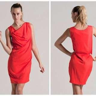 Natasha Gan Small Cowl Top Dress in Tangerine .. Size 8