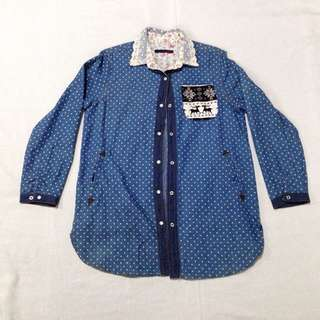 Long Polkadots Denim Polo (can be worn as dress)
