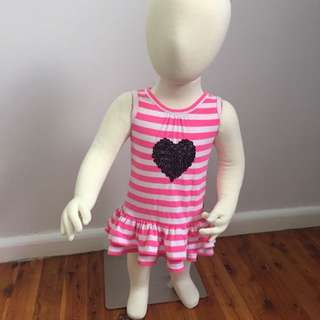 Milkshake Pink Striped Dress With Sequenced Love Heart Girl's Dress Size 00