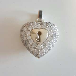 Sterling Silver Heart Pendant With Cubic Zirconia
