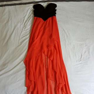 Black & Coral Strapless Dress Size 10