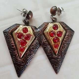 Rustic Bohemian Style Bronze Aztec Earrings