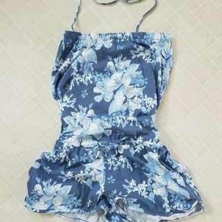 Blue Floral Halter Romper Size S/m