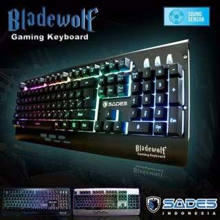 Keyboard Gaming Sades Bladewolf Full Size RGB With Metal Body