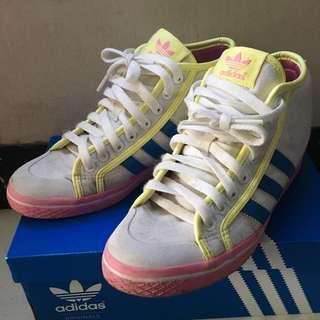 Adidas 女裝内增高波鞋 密頭鞋 淺黃色配粉紅色