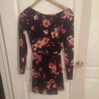 Bethany Mota Long Sleeve Floral Dress