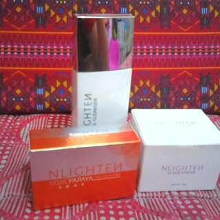 Nlighten Facial Cleanser (Php 550) Nlighten Cloud Cream (Php 1,450) Nlighten Kojic Papaya (Php 200)