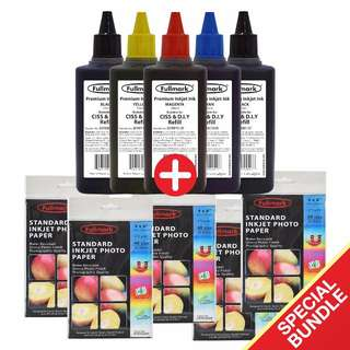 Fullmark Special Bundle, 5 Premium Inkjet Ink, (100ml-Compatible with CANON + 5 Standard Inkjet Photo Paper (4R size)