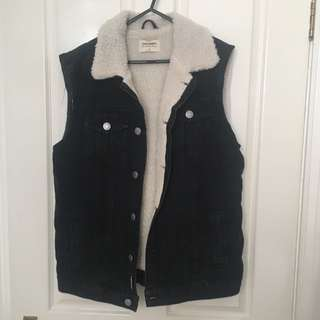 Sleeveless Sherpa Lined Denim Vest