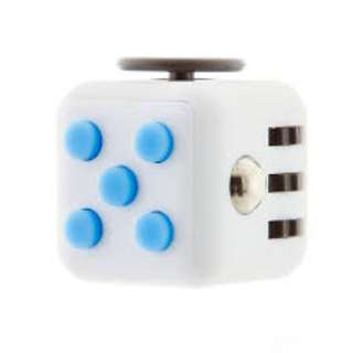 Fidget Cube Stress Relief Toy Adults Children 6+ Focus For ADHD AUTISM Anxiety - AQUA ( WHITE WITH BLUE BUTTONS)