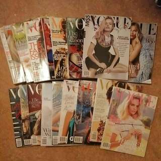 Various Vogue Magazines Mainly Australian And British