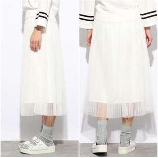 Lowrys farm 素面雪紡百摺過膝七分紗裙