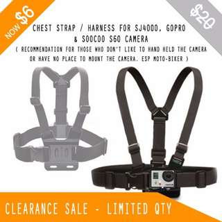 CLEARANCE SALE - Chest Strap / Harness for GoPro , SJ4000 , SJ6000 , Soocoo S60