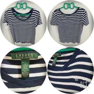 正品名牌Ralph Lauren 藍色條紋短袖棉T #一百元上衣