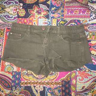 Khaki Tigerlily Denim Shorts