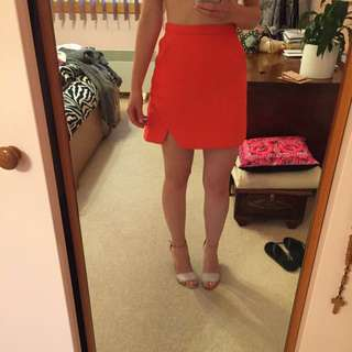 kookai orange/red skirt size 8