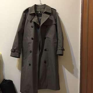 韓國製 高質感挺版風衣外套 卡其綠 有內裡可拆 全新