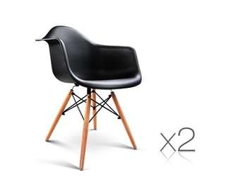 Set of 2 Replica Eames Cafe Chairs Beech Black