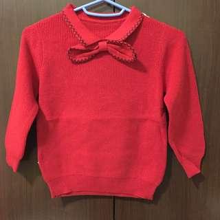 不是韓製但質感超好-紅色針織蝴蝶結上衣