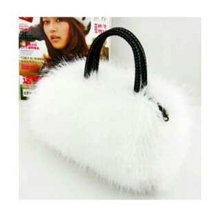 women paux rabbit fur hanbag (white)