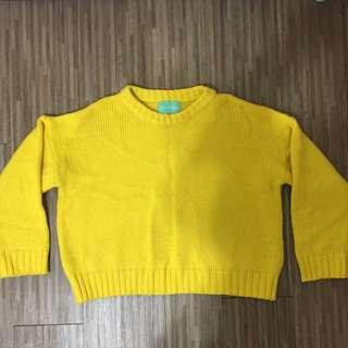 51/二手)黃色短板毛衣