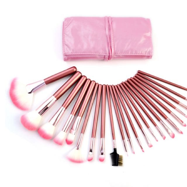 22 Pcs Pink Makeup Brush