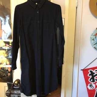 MUJI Navy Blue Cotton Flannel T-shirt Dreas