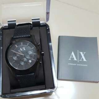 阿曼尼Armani黑色皮帶錶