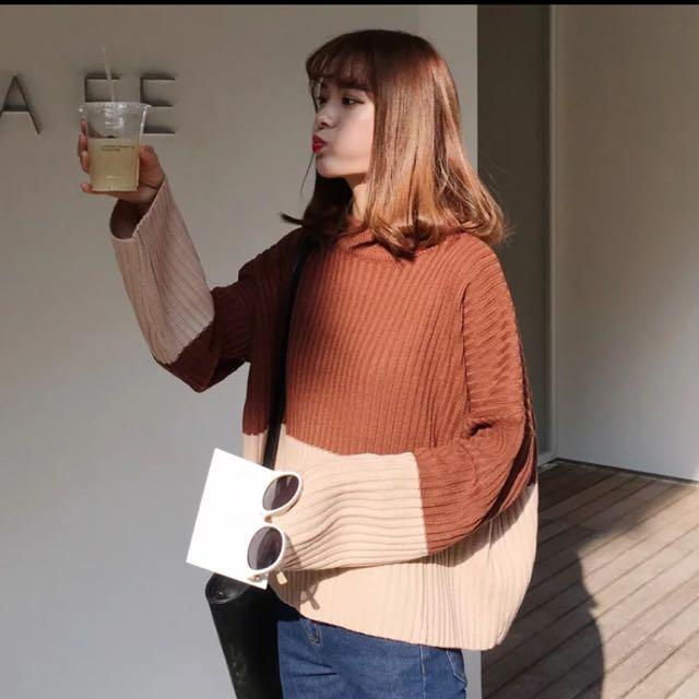 韓版寬鬆撞色針織毛衣