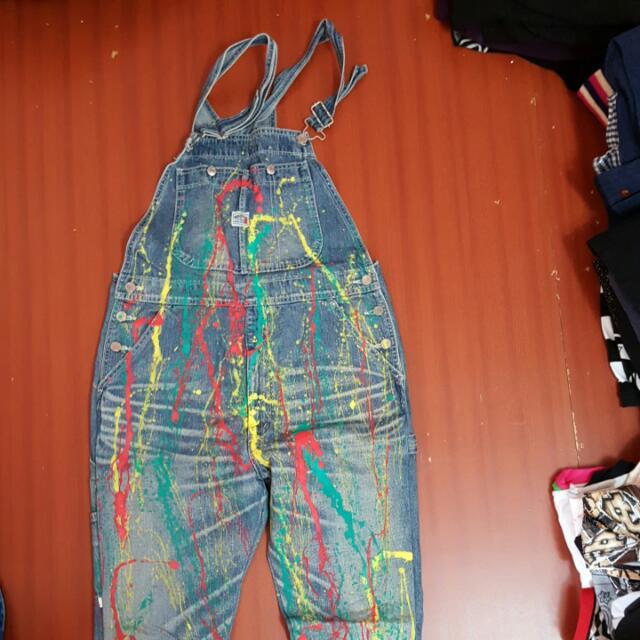 冠希風格潑漆吊帶褲直統