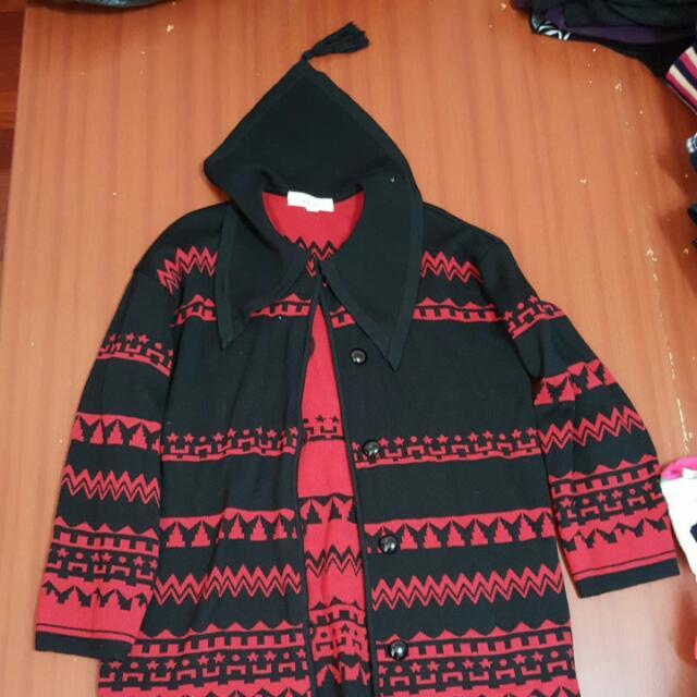 紅黑針織外套