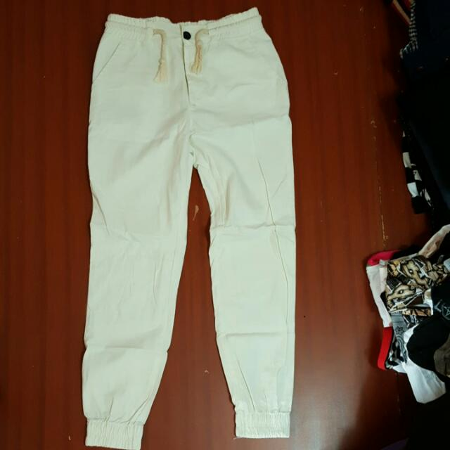 純白縮口褲,牛仔縮口褲