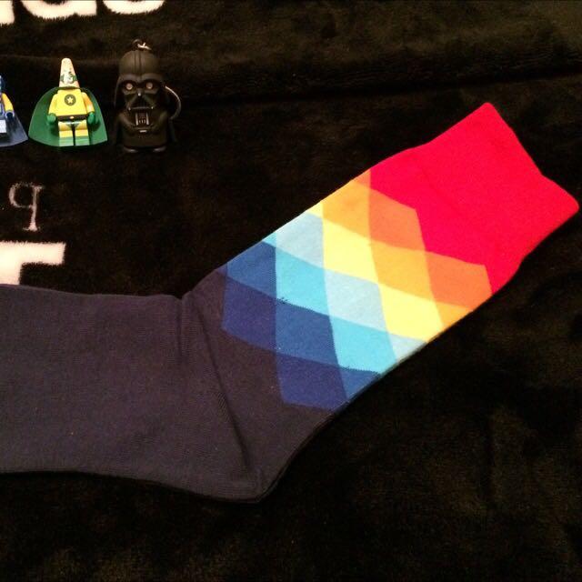菱格紋紳士襪