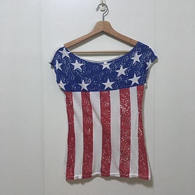 二手衣物-美國國旗寬領上衣